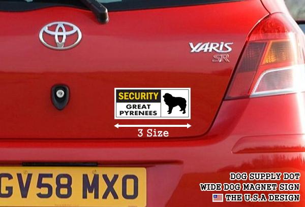 SECURITY GREAT PYRENEES ワイドマグネットサイン:グレートピレニーズ