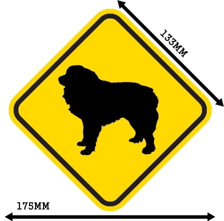 黄色い注意標識のマグネットサイン:グレートピレニーズ