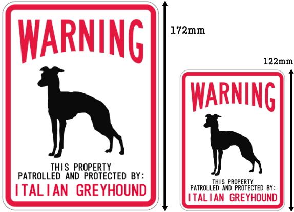 WARNING PATROLLED AND PROTECTED ITALIAN GREYHOUND マグネットサイン:イタリアングレーハウンド