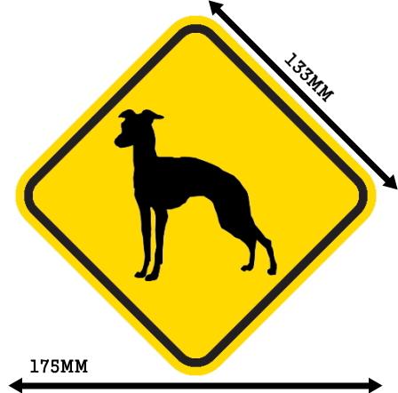 黄色い注意標識のマグネットサイン:イタリアングレイハウンド