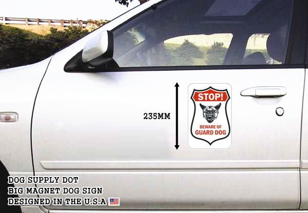 STOP! BEWARE OF GUARD DOG マグネットサイン