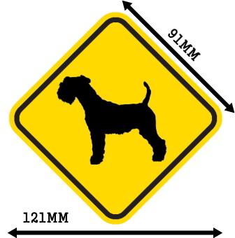 黄色い注意標識のマグネットサイン:レイクランドテリア