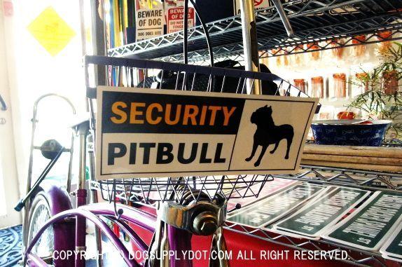 SECURITY セキュリティマグネットサインボード 自転車:ピットブル警備中