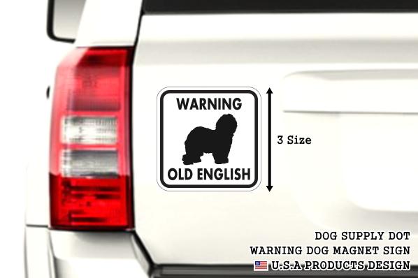 WARNING OLD ENGLISH マグネットサイン:オールドイングリッシュ(ホワイト)