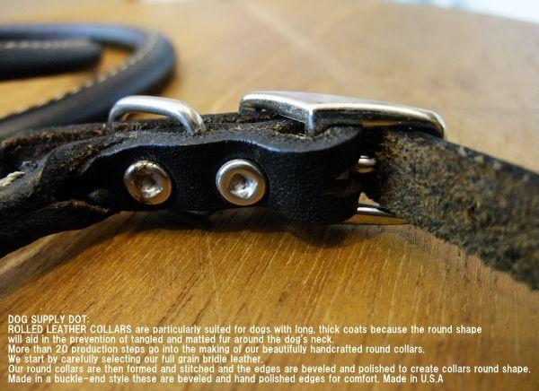 牛本革を丸めた犬首輪、ロールレザーカラー:ブラック