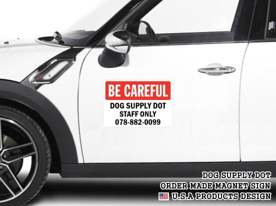 英語や数字・記号でアメリカンなオリジナルマグネット看板が作れるオーダーメイドのマグネットサイン:BE CAREFUL