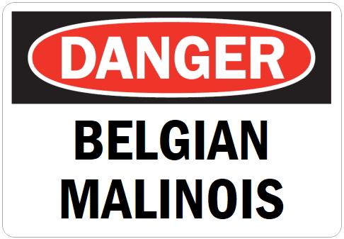 オーダーメイドのマグネットサイン:DANGER BELGIAN MALINOIS