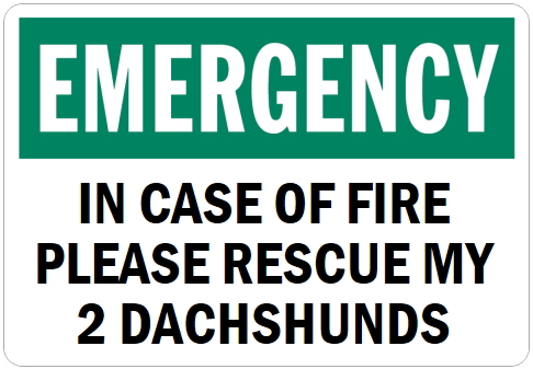 オーダーメイドのマグネットサイン:EMERGENCY IN CASE OF FIRE PLEASE RESCUE MY 2 DACHSHUNDS
