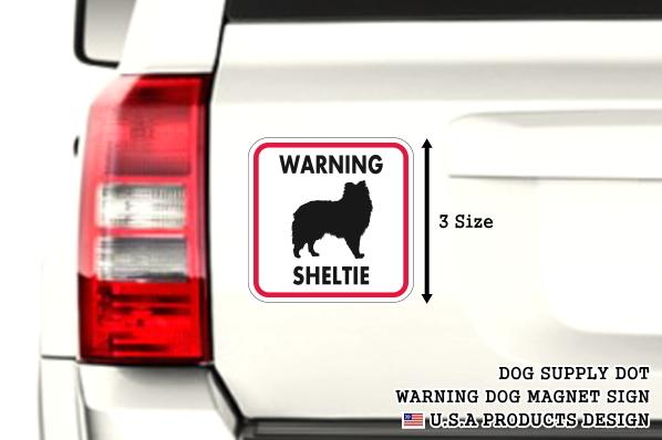 WARNING SHELTIE マグネットサイン:シェルティー(レッドフレーム)