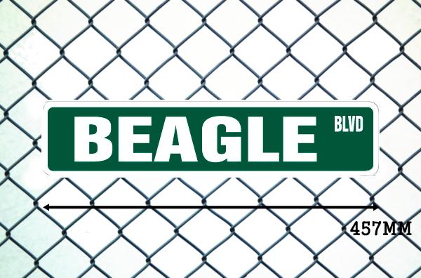 ビーグル犬 英語看板 アメリカ道路標識 ストリートサインボード