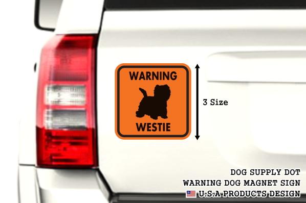 WARNING WESTIE マグネットサイン:ウェスティー(オレンジ)