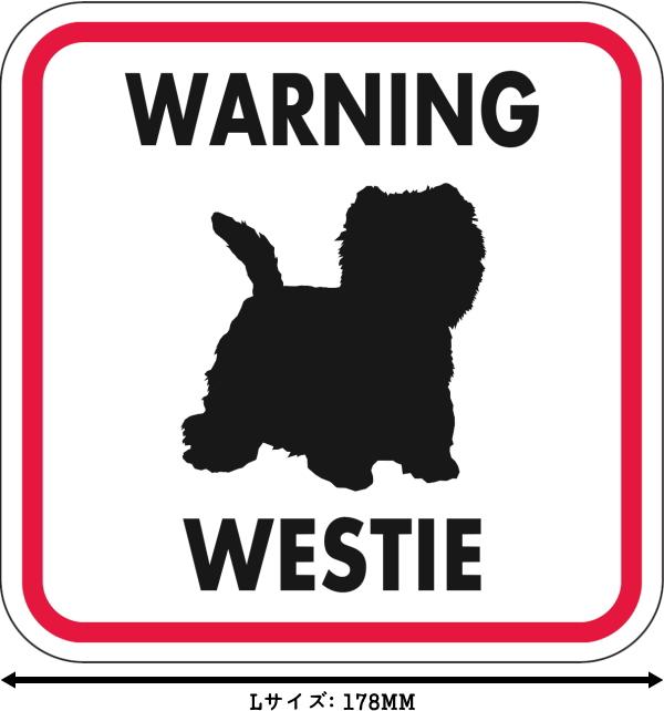 WARNING WESTIE マグネットサイン:ウェスティー(レッドフレーム)Lサイズ