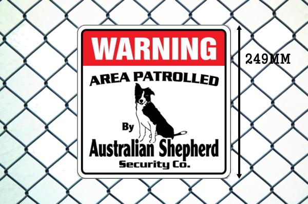 オーストラリアンシェパード警備会社看板 英語注意書き アメリカ輸入サインボード