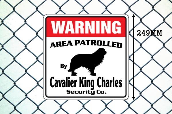 キャバリアキングチャールズ警備会社看板 英語注意書き アメリカ輸入サインボード