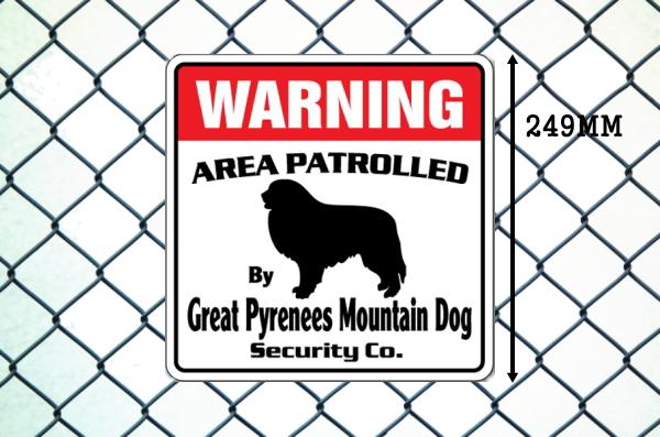 グレートピレニーズマウンテンドッグ警備会社看板 英語注意書き アメリカ輸入サインボード