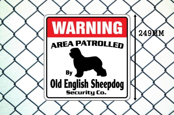 オールドイングリッシュシープドッグ警備会社看板 英語注意書き アメリカ輸入サインボード