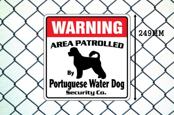 ポーチュギーズウォータードッグ警備会社看板 英語注意書き アメリカ輸入サインボード