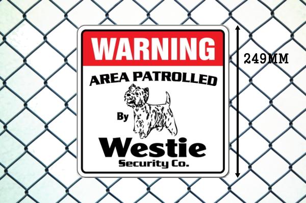 ウェスティー警備会社看板 英語注意書き アメリカ輸入サインボード
